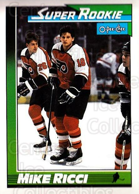 1991-92 O-Pee-Chee #13 Mike Ricci<br/>5 In Stock - $1.00 each - <a href=https://centericecollectibles.foxycart.com/cart?name=1991-92%20O-Pee-Chee%20%2313%20Mike%20Ricci...&quantity_max=5&price=$1.00&code=253980 class=foxycart> Buy it now! </a>