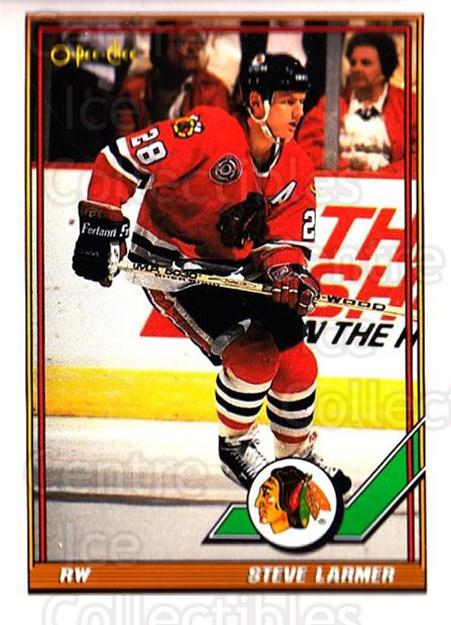 1991-92 O-Pee-Chee #75 Steve Larmer<br/>5 In Stock - $1.00 each - <a href=https://centericecollectibles.foxycart.com/cart?name=1991-92%20O-Pee-Chee%20%2375%20Steve%20Larmer...&quantity_max=5&price=$1.00&code=254042 class=foxycart> Buy it now! </a>