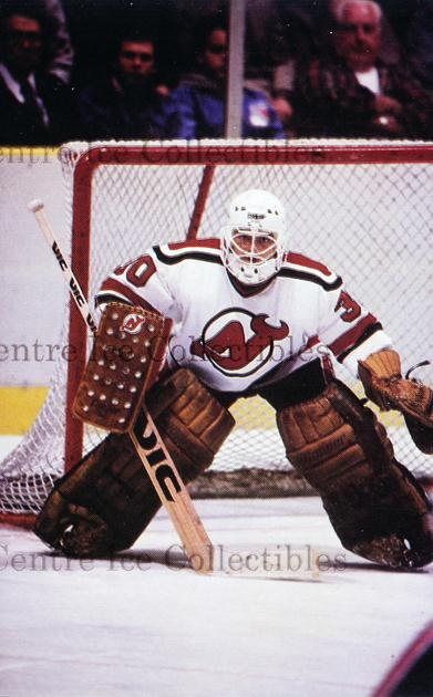 1985-86 New Jersey Devils Postcards #4 Alain Chevrier<br/>1 In Stock - $3.00 each - <a href=https://centericecollectibles.foxycart.com/cart?name=1985-86%20New%20Jersey%20Devils%20Postcards%20%234%20Alain%20Chevrier...&quantity_max=1&price=$3.00&code=25412 class=foxycart> Buy it now! </a>
