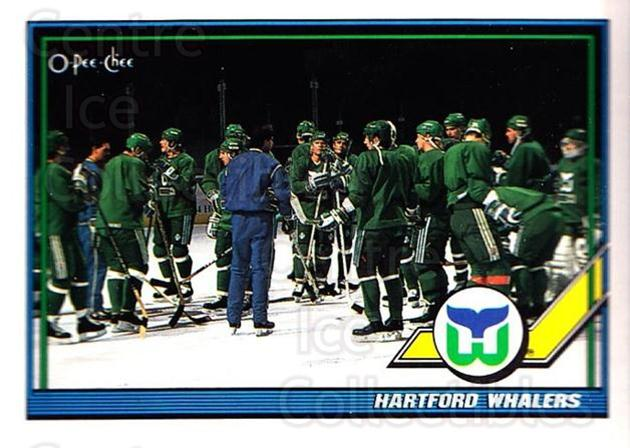 1991-92 O-Pee-Chee #185 Hartford Whalers<br/>2 In Stock - $1.00 each - <a href=https://centericecollectibles.foxycart.com/cart?name=1991-92%20O-Pee-Chee%20%23185%20Hartford%20Whaler...&quantity_max=2&price=$1.00&code=254152 class=foxycart> Buy it now! </a>