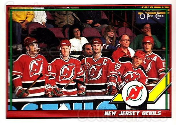 1991-92 O-Pee-Chee #191 New Jersey Devils<br/>5 In Stock - $1.00 each - <a href=https://centericecollectibles.foxycart.com/cart?name=1991-92%20O-Pee-Chee%20%23191%20New%20Jersey%20Devi...&quantity_max=5&price=$1.00&code=254158 class=foxycart> Buy it now! </a>