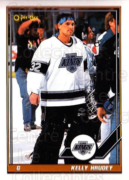 1991-92 O-Pee-Chee #195 Kelly Hrudey<br/>5 In Stock - $1.00 each - <a href=https://centericecollectibles.foxycart.com/cart?name=1991-92%20O-Pee-Chee%20%23195%20Kelly%20Hrudey...&quantity_max=5&price=$1.00&code=254162 class=foxycart> Buy it now! </a>