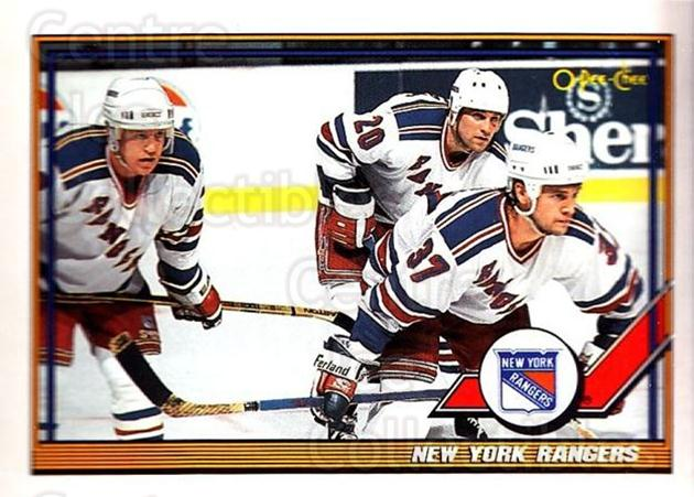 1991-92 O-Pee-Chee #215 New York Rangers<br/>4 In Stock - $1.00 each - <a href=https://centericecollectibles.foxycart.com/cart?name=1991-92%20O-Pee-Chee%20%23215%20New%20York%20Ranger...&quantity_max=4&price=$1.00&code=254182 class=foxycart> Buy it now! </a>