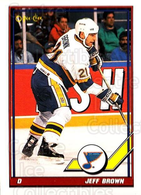 1991-92 O-Pee-Chee #222 Jeff Brown<br/>5 In Stock - $1.00 each - <a href=https://centericecollectibles.foxycart.com/cart?name=1991-92%20O-Pee-Chee%20%23222%20Jeff%20Brown...&quantity_max=5&price=$1.00&code=254189 class=foxycart> Buy it now! </a>