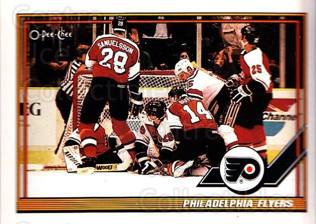 1991-92 O-Pee-Chee #329 Philadelphia Flyers<br/>5 In Stock - $1.00 each - <a href=https://centericecollectibles.foxycart.com/cart?name=1991-92%20O-Pee-Chee%20%23329%20Philadelphia%20Fl...&quantity_max=5&price=$1.00&code=254296 class=foxycart> Buy it now! </a>