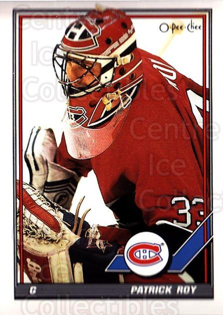 1991-92 O-Pee-Chee #413 Patrick Roy<br/>33 In Stock - $2.00 each - <a href=https://centericecollectibles.foxycart.com/cart?name=1991-92%20O-Pee-Chee%20%23413%20Patrick%20Roy...&quantity_max=33&price=$2.00&code=254380 class=foxycart> Buy it now! </a>