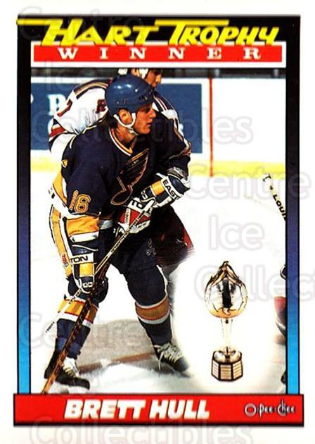 1991-92 O-Pee-Chee #516 Brett Hull, Hart Trophy<br/>6 In Stock - $1.00 each - <a href=https://centericecollectibles.foxycart.com/cart?name=1991-92%20O-Pee-Chee%20%23516%20Brett%20Hull,%20Har...&price=$1.00&code=254483 class=foxycart> Buy it now! </a>