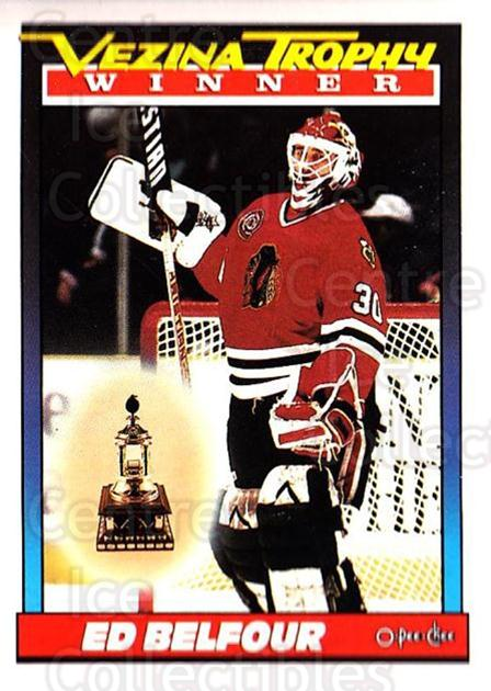 1991-92 O-Pee-Chee #519 Ed Belfour, Vezina Trophy<br/>5 In Stock - $1.00 each - <a href=https://centericecollectibles.foxycart.com/cart?name=1991-92%20O-Pee-Chee%20%23519%20Ed%20Belfour,%20Vez...&price=$1.00&code=254486 class=foxycart> Buy it now! </a>