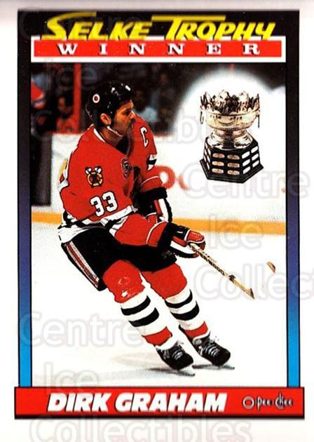 1991-92 O-Pee-Chee #521 Dirk Graham, Selke Trophy<br/>5 In Stock - $1.00 each - <a href=https://centericecollectibles.foxycart.com/cart?name=1991-92%20O-Pee-Chee%20%23521%20Dirk%20Graham,%20Se...&quantity_max=5&price=$1.00&code=254488 class=foxycart> Buy it now! </a>