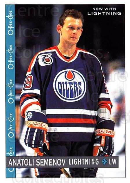 1992-93 O-Pee-Chee #83 Anatoli Semenov<br/>6 In Stock - $1.00 each - <a href=https://centericecollectibles.foxycart.com/cart?name=1992-93%20O-Pee-Chee%20%2383%20Anatoli%20Semenov...&quantity_max=6&price=$1.00&code=254578 class=foxycart> Buy it now! </a>