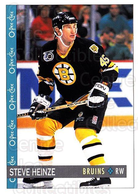 1992-93 O-Pee-Chee #92 Steve Heinze<br/>6 In Stock - $1.00 each - <a href=https://centericecollectibles.foxycart.com/cart?name=1992-93%20O-Pee-Chee%20%2392%20Steve%20Heinze...&quantity_max=6&price=$1.00&code=254587 class=foxycart> Buy it now! </a>