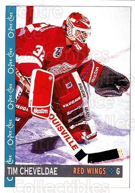 1992-93 O-Pee-Chee #128 Tim Cheveldae<br/>6 In Stock - $1.00 each - <a href=https://centericecollectibles.foxycart.com/cart?name=1992-93%20O-Pee-Chee%20%23128%20Tim%20Cheveldae...&quantity_max=6&price=$1.00&code=254623 class=foxycart> Buy it now! </a>