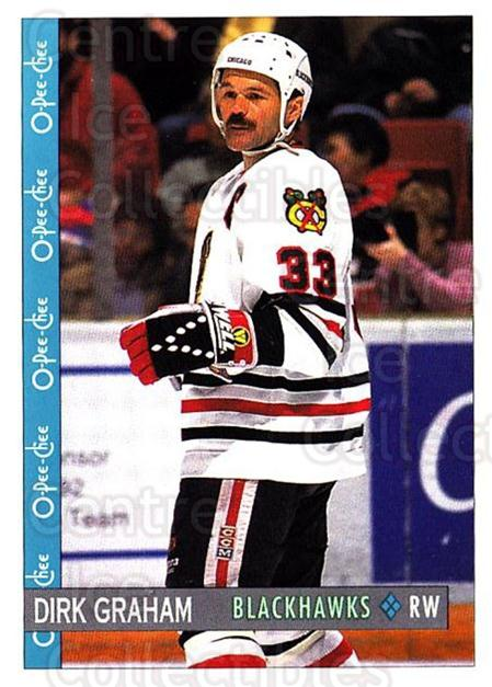 1992-93 O-Pee-Chee #210 Dirk Graham<br/>7 In Stock - $1.00 each - <a href=https://centericecollectibles.foxycart.com/cart?name=1992-93%20O-Pee-Chee%20%23210%20Dirk%20Graham...&quantity_max=7&price=$1.00&code=254705 class=foxycart> Buy it now! </a>