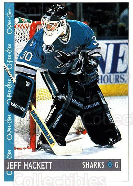1992-93 O-Pee-Chee #218 Jeff Hackett<br/>6 In Stock - $1.00 each - <a href=https://centericecollectibles.foxycart.com/cart?name=1992-93%20O-Pee-Chee%20%23218%20Jeff%20Hackett...&quantity_max=6&price=$1.00&code=254713 class=foxycart> Buy it now! </a>