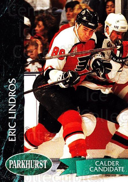1992-93 Parkhurst #128 Eric Lindros<br/>4 In Stock - $1.00 each - <a href=https://centericecollectibles.foxycart.com/cart?name=1992-93%20Parkhurst%20%23128%20Eric%20Lindros...&quantity_max=4&price=$1.00&code=255019 class=foxycart> Buy it now! </a>