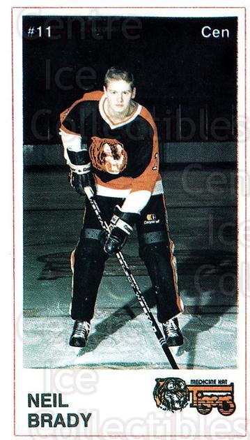1985-86 Medicine Hat Tigers #11 Neil Brady<br/>6 In Stock - $3.00 each - <a href=https://centericecollectibles.foxycart.com/cart?name=1985-86%20Medicine%20Hat%20Tigers%20%2311%20Neil%20Brady...&quantity_max=6&price=$3.00&code=25593 class=foxycart> Buy it now! </a>
