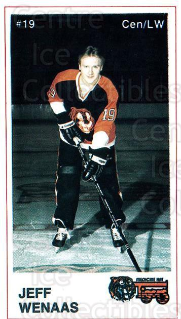 1985-86 Medicine Hat Tigers #13 Jeff Wenaas<br/>6 In Stock - $3.00 each - <a href=https://centericecollectibles.foxycart.com/cart?name=1985-86%20Medicine%20Hat%20Tigers%20%2313%20Jeff%20Wenaas...&quantity_max=6&price=$3.00&code=25595 class=foxycart> Buy it now! </a>