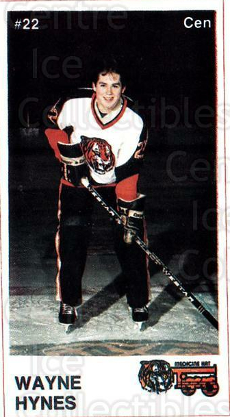 1985-86 Medicine Hat Tigers #14 Wayne Hynes<br/>4 In Stock - $3.00 each - <a href=https://centericecollectibles.foxycart.com/cart?name=1985-86%20Medicine%20Hat%20Tigers%20%2314%20Wayne%20Hynes...&quantity_max=4&price=$3.00&code=25596 class=foxycart> Buy it now! </a>
