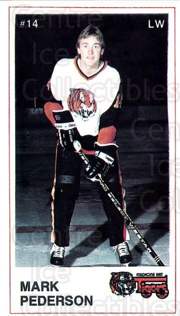 1985-86 Medicine Hat Tigers #19 Mark Pederson<br/>3 In Stock - $3.00 each - <a href=https://centericecollectibles.foxycart.com/cart?name=1985-86%20Medicine%20Hat%20Tigers%20%2319%20Mark%20Pederson...&quantity_max=3&price=$3.00&code=25600 class=foxycart> Buy it now! </a>