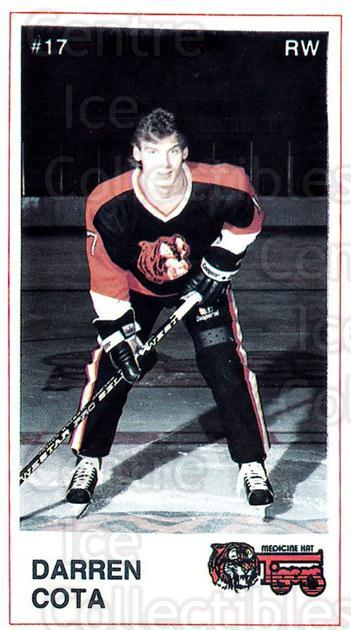 1985-86 Medicine Hat Tigers #20 Darren Cota<br/>5 In Stock - $3.00 each - <a href=https://centericecollectibles.foxycart.com/cart?name=1985-86%20Medicine%20Hat%20Tigers%20%2320%20Darren%20Cota...&quantity_max=5&price=$3.00&code=25602 class=foxycart> Buy it now! </a>
