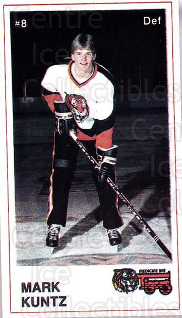 1985-86 Medicine Hat Tigers #3 Mark Kuntz<br/>5 In Stock - $3.00 each - <a href=https://centericecollectibles.foxycart.com/cart?name=1985-86%20Medicine%20Hat%20Tigers%20%233%20Mark%20Kuntz...&quantity_max=5&price=$3.00&code=25607 class=foxycart> Buy it now! </a>