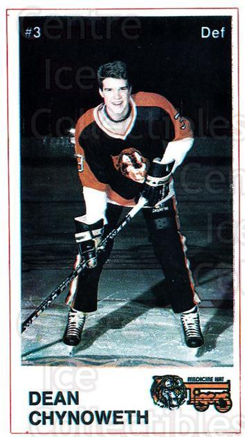 1985-86 Medicine Hat Tigers #9 Dean Chynoweth<br/>4 In Stock - $3.00 each - <a href=https://centericecollectibles.foxycart.com/cart?name=1985-86%20Medicine%20Hat%20Tigers%20%239%20Dean%20Chynoweth...&quantity_max=4&price=$3.00&code=25611 class=foxycart> Buy it now! </a>