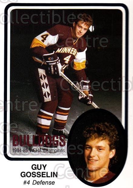 1985-86 Minnesota-Duluth Bulldogs #10 Guy Gosselin<br/>11 In Stock - $3.00 each - <a href=https://centericecollectibles.foxycart.com/cart?name=1985-86%20Minnesota-Duluth%20Bulldogs%20%2310%20Guy%20Gosselin...&quantity_max=11&price=$3.00&code=25613 class=foxycart> Buy it now! </a>