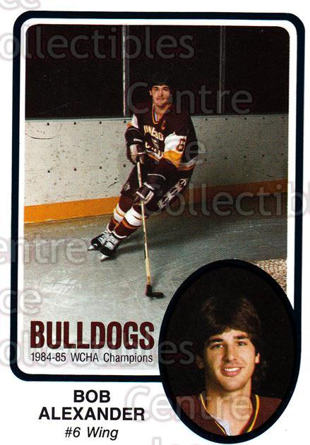 1985-86 Minnesota-Duluth Bulldogs #19 Bob Alexander<br/>12 In Stock - $3.00 each - <a href=https://centericecollectibles.foxycart.com/cart?name=1985-86%20Minnesota-Duluth%20Bulldogs%20%2319%20Bob%20Alexander...&quantity_max=12&price=$3.00&code=25622 class=foxycart> Buy it now! </a>