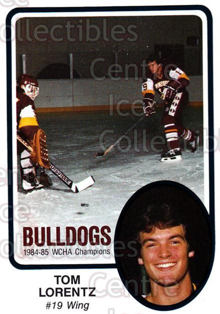1985-86 Minnesota-Duluth Bulldogs #20 Tom Lorentz<br/>14 In Stock - $3.00 each - <a href=https://centericecollectibles.foxycart.com/cart?name=1985-86%20Minnesota-Duluth%20Bulldogs%20%2320%20Tom%20Lorentz...&quantity_max=14&price=$3.00&code=25624 class=foxycart> Buy it now! </a>