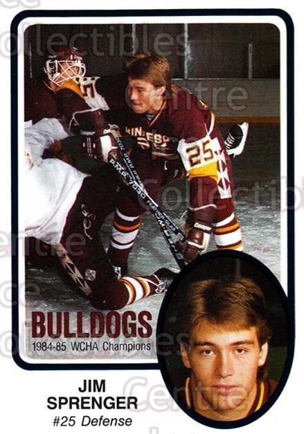 1985-86 Minnesota-Duluth Bulldogs #22 Jim Sprenger<br/>13 In Stock - $3.00 each - <a href=https://centericecollectibles.foxycart.com/cart?name=1985-86%20Minnesota-Duluth%20Bulldogs%20%2322%20Jim%20Sprenger...&quantity_max=13&price=$3.00&code=25626 class=foxycart> Buy it now! </a>