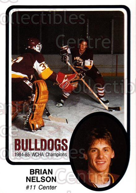 1985-86 Minnesota-Duluth Bulldogs #27 Brian Nelson<br/>12 In Stock - $3.00 each - <a href=https://centericecollectibles.foxycart.com/cart?name=1985-86%20Minnesota-Duluth%20Bulldogs%20%2327%20Brian%20Nelson...&quantity_max=12&price=$3.00&code=25631 class=foxycart> Buy it now! </a>