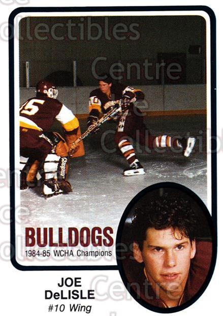 1985-86 Minnesota-Duluth Bulldogs #29 Joe DeLisle<br/>14 In Stock - $3.00 each - <a href=https://centericecollectibles.foxycart.com/cart?name=1985-86%20Minnesota-Duluth%20Bulldogs%20%2329%20Joe%20DeLisle...&quantity_max=14&price=$3.00&code=25632 class=foxycart> Buy it now! </a>
