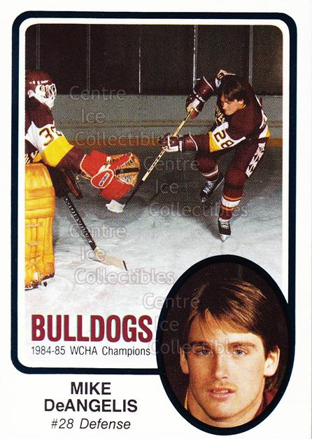 1985-86 Minnesota-Duluth Bulldogs #3 Mike DeAngelis<br/>10 In Stock - $3.00 each - <a href=https://centericecollectibles.foxycart.com/cart?name=1985-86%20Minnesota-Duluth%20Bulldogs%20%233%20Mike%20DeAngelis...&quantity_max=10&price=$3.00&code=25633 class=foxycart> Buy it now! </a>