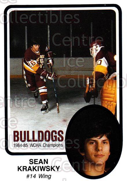 1985-86 Minnesota-Duluth Bulldogs #32 Sean Krakiwsky<br/>9 In Stock - $3.00 each - <a href=https://centericecollectibles.foxycart.com/cart?name=1985-86%20Minnesota-Duluth%20Bulldogs%20%2332%20Sean%20Krakiwsky...&quantity_max=9&price=$3.00&code=25636 class=foxycart> Buy it now! </a>