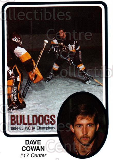 1985-86 Minnesota-Duluth Bulldogs #7 Dave Cowan<br/>14 In Stock - $3.00 each - <a href=https://centericecollectibles.foxycart.com/cart?name=1985-86%20Minnesota-Duluth%20Bulldogs%20%237%20Dave%20Cowan...&quantity_max=14&price=$3.00&code=25643 class=foxycart> Buy it now! </a>