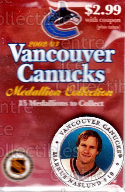 2002-03 Vancouver Canucks Medallion #1 Markus Naslund<br/>1 In Stock - $5.00 each - <a href=https://centericecollectibles.foxycart.com/cart?name=2002-03%20Vancouver%20Canucks%20Medallion%20%231%20Markus%20Naslund...&quantity_max=1&price=$5.00&code=257126 class=foxycart> Buy it now! </a>