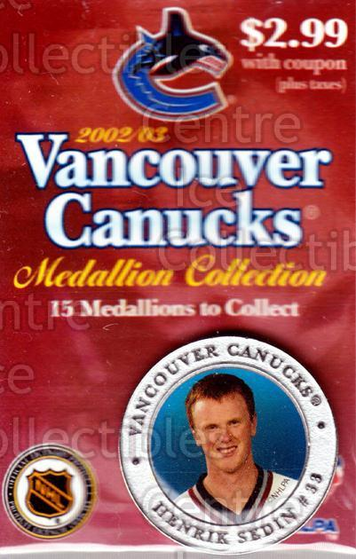 2002-03 Vancouver Canucks Medallion #5 Henrik Sedin<br/>1 In Stock - $5.00 each - <a href=https://centericecollectibles.foxycart.com/cart?name=2002-03%20Vancouver%20Canucks%20Medallion%20%235%20Henrik%20Sedin...&quantity_max=1&price=$5.00&code=257130 class=foxycart> Buy it now! </a>