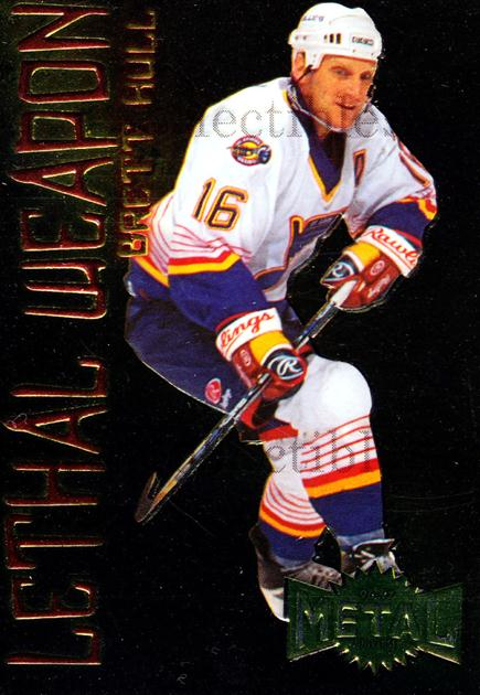 1996-97 Metal Universe Lethal Weapons #7 Brett Hull<br/>1 In Stock - $3.00 each - <a href=https://centericecollectibles.foxycart.com/cart?name=1996-97%20Metal%20Universe%20Lethal%20Weapons%20%237%20Brett%20Hull...&quantity_max=1&price=$3.00&code=257170 class=foxycart> Buy it now! </a>