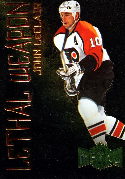 1996-97 Metal Universe Lethal Weapons #10 John Leclair<br/>2 In Stock - $3.00 each - <a href=https://centericecollectibles.foxycart.com/cart?name=1996-97%20Metal%20Universe%20Lethal%20Weapons%20%2310%20John%20Leclair...&quantity_max=2&price=$3.00&code=257173 class=foxycart> Buy it now! </a>