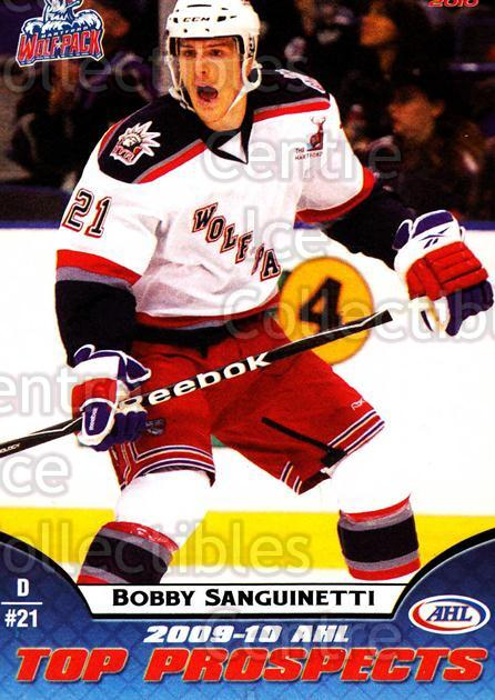 2009-10 AHL Top Prospects #15 Bobby Sanguinetti<br/>4 In Stock - $3.00 each - <a href=https://centericecollectibles.foxycart.com/cart?name=2009-10%20AHL%20Top%20Prospects%20%2315%20Bobby%20Sanguinet...&quantity_max=4&price=$3.00&code=257272 class=foxycart> Buy it now! </a>