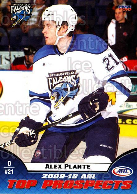 2009-10 AHL Top Prospects #42 Alex Plante<br/>5 In Stock - $3.00 each - <a href=https://centericecollectibles.foxycart.com/cart?name=2009-10%20AHL%20Top%20Prospects%20%2342%20Alex%20Plante...&quantity_max=5&price=$3.00&code=257299 class=foxycart> Buy it now! </a>