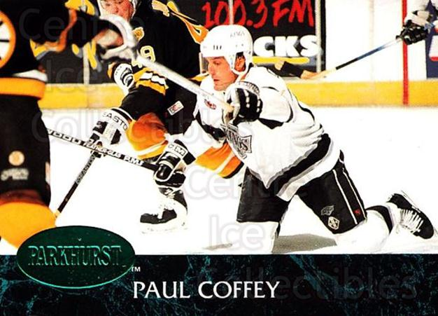 1992-93 Parkhurst Emerald #63 Paul Coffey<br/>7 In Stock - $2.00 each - <a href=https://centericecollectibles.foxycart.com/cart?name=1992-93%20Parkhurst%20Emerald%20%2363%20Paul%20Coffey...&quantity_max=7&price=$2.00&code=257419 class=foxycart> Buy it now! </a>