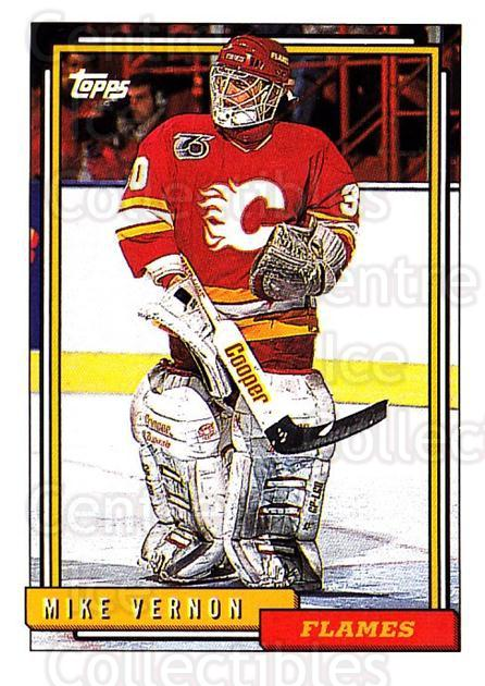 1992-93 Topps #20 Mike Vernon<br/>5 In Stock - $1.00 each - <a href=https://centericecollectibles.foxycart.com/cart?name=1992-93%20Topps%20%2320%20Mike%20Vernon...&price=$1.00&code=260609 class=foxycart> Buy it now! </a>