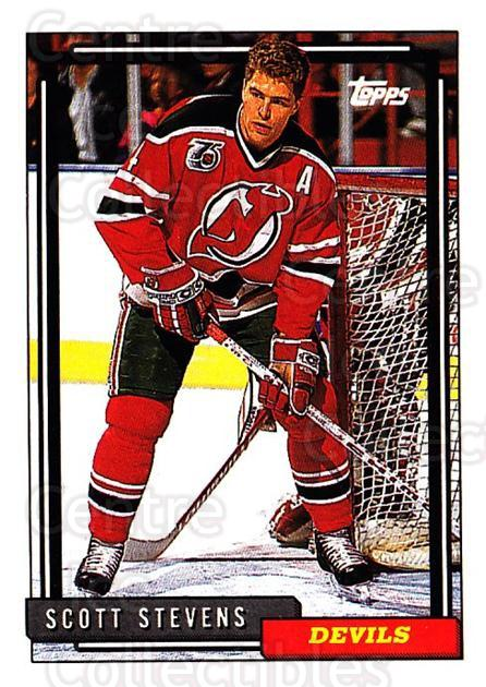 1992-93 Topps #156 Scott Stevens<br/>5 In Stock - $1.00 each - <a href=https://centericecollectibles.foxycart.com/cart?name=1992-93%20Topps%20%23156%20Scott%20Stevens...&price=$1.00&code=260745 class=foxycart> Buy it now! </a>
