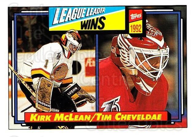 1992-93 Topps #225 Tim Cheveldae, Kirk McLean<br/>4 In Stock - $1.00 each - <a href=https://centericecollectibles.foxycart.com/cart?name=1992-93%20Topps%20%23225%20Tim%20Cheveldae,%20...&price=$1.00&code=260814 class=foxycart> Buy it now! </a>