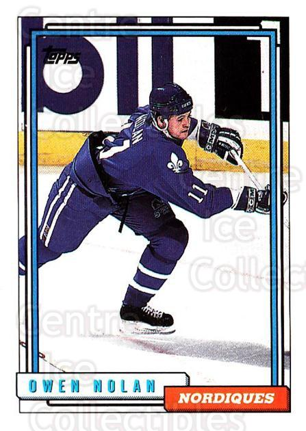 1992-93 Topps #349 Owen Nolan<br/>5 In Stock - $1.00 each - <a href=https://centericecollectibles.foxycart.com/cart?name=1992-93%20Topps%20%23349%20Owen%20Nolan...&price=$1.00&code=260938 class=foxycart> Buy it now! </a>