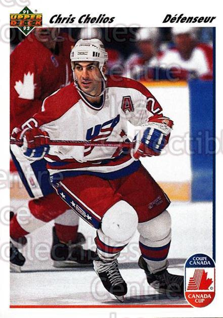 1991-92 Upper Deck French #37 Chris Chelios<br/>12 In Stock - $1.00 each - <a href=https://centericecollectibles.foxycart.com/cart?name=1991-92%20Upper%20Deck%20French%20%2337%20Chris%20Chelios...&quantity_max=12&price=$1.00&code=261656 class=foxycart> Buy it now! </a>