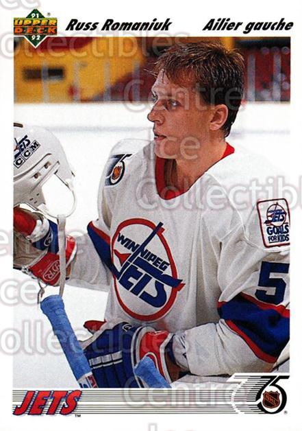 1991-92 Upper Deck French #46 Russ Romaniuk<br/>10 In Stock - $1.00 each - <a href=https://centericecollectibles.foxycart.com/cart?name=1991-92%20Upper%20Deck%20French%20%2346%20Russ%20Romaniuk...&quantity_max=10&price=$1.00&code=261665 class=foxycart> Buy it now! </a>