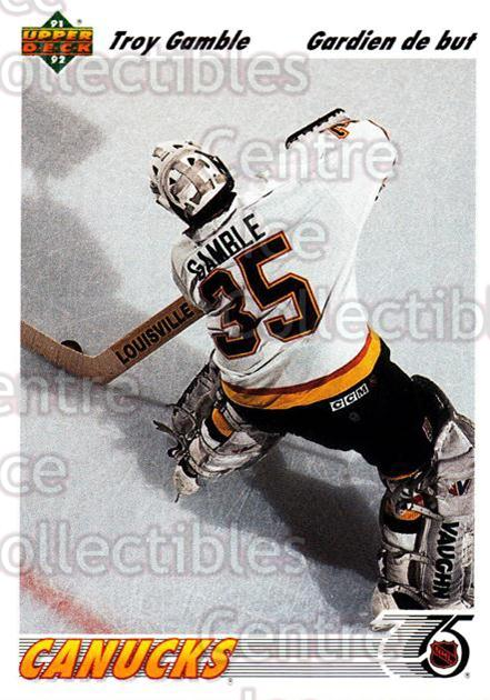 1991-92 Upper Deck French #120 Troy Gamble<br/>11 In Stock - $1.00 each - <a href=https://centericecollectibles.foxycart.com/cart?name=1991-92%20Upper%20Deck%20French%20%23120%20Troy%20Gamble...&quantity_max=11&price=$1.00&code=261739 class=foxycart> Buy it now! </a>