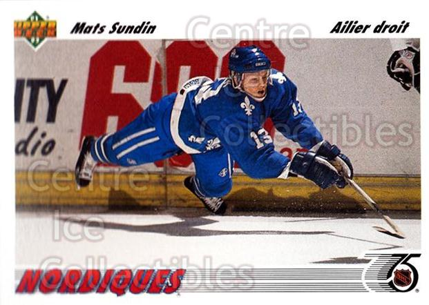 1991-92 Upper Deck French #134 Mats Sundin<br/>14 In Stock - $1.00 each - <a href=https://centericecollectibles.foxycart.com/cart?name=1991-92%20Upper%20Deck%20French%20%23134%20Mats%20Sundin...&quantity_max=14&price=$1.00&code=261753 class=foxycart> Buy it now! </a>